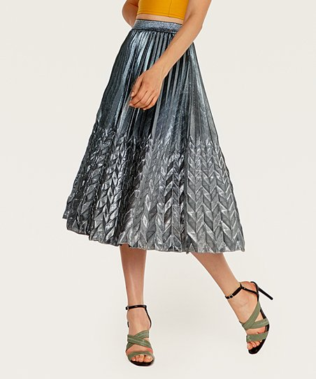 b9d081fffa Coeur de Vague Gray Metallic Pleated Midi Skirt - Women | Zulily