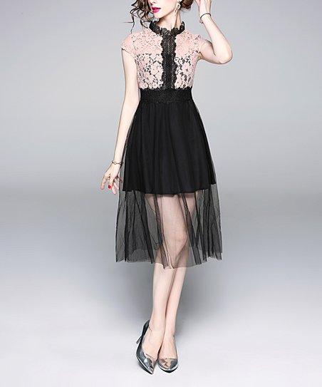 Coeur De Vague Pink Black Lace Illusion Skirt Cap Sleeve Dress