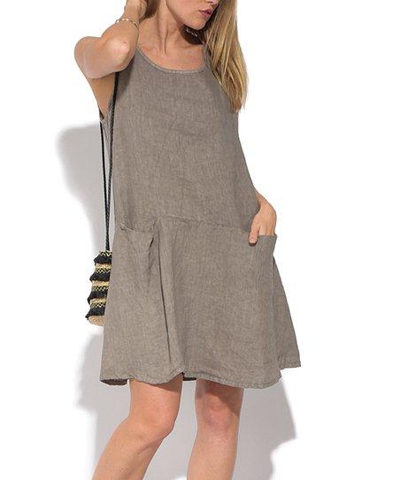 ab73e220910 La Fabrique du Lin Brown Linen Sleeveless Shift Dress - Women