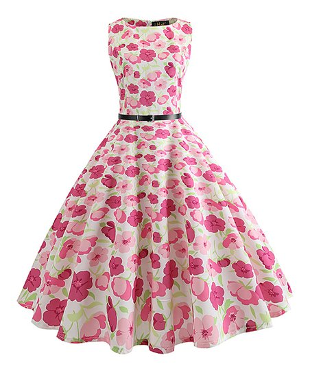 55c9debfb2 love this product Pink Floral Belt-Accent Tea-Length Vintage Fit & Flare  Dress - Women