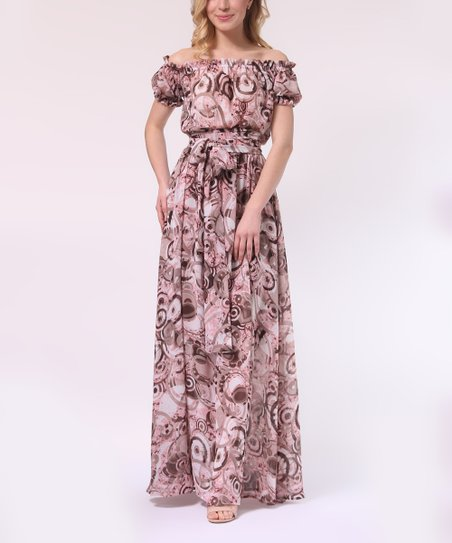 f55a6dc20d8f love this product Pink   Coffee Abstract Off-Shoulder Maxi Dress - Women