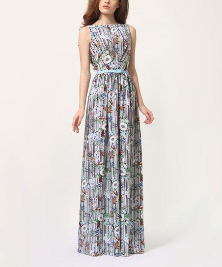 4af9c2c2912b Lila Kass Green   White Floral Belted Silk-Blend Maxi Dress - Women ...
