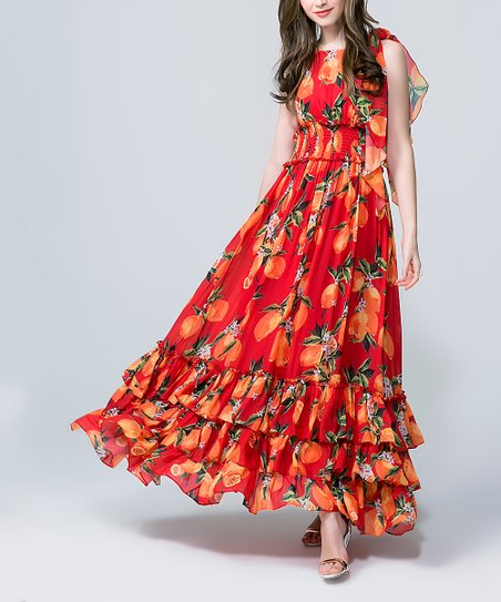ef7a71f9ccf love this product Red   Mango Ruffle-Trim Maxi Dress - Women