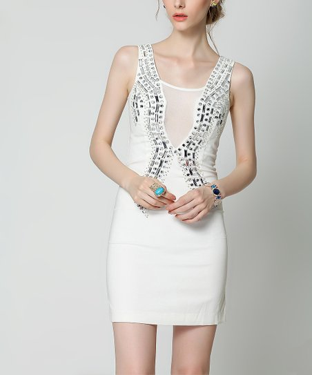 1ef6993f890f love this product White   Silver Mesh-Panel Bodycon Dress - Women