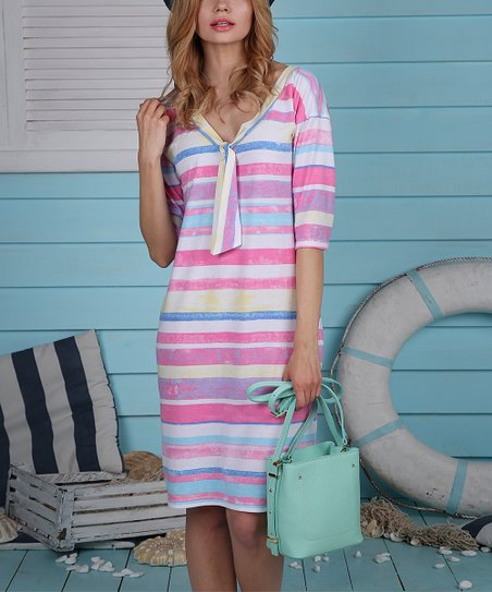 eee1b7fa2907 love this product Pink & Blue Stripe Tie-Neck Shift Dress - Women