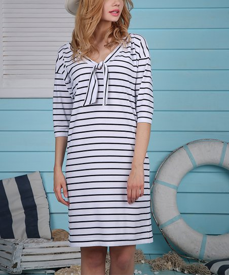 9f103e9c7a8b JET Blue Stripe Tie-Neck Shift Dress - Women | Zulily