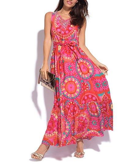 f5ff4870d2a love this product Pink Medallion Tie-Waist Maxi Dress - Women