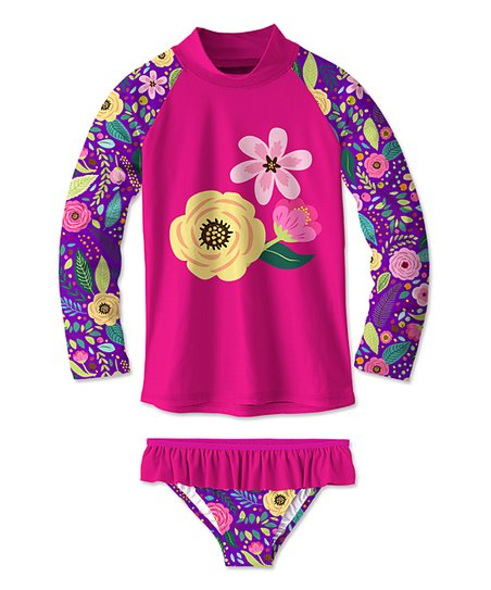 60023ab70c45a love this product Pink   Purple Floral Rashguard   Bikini Bottoms - Toddler    Girls