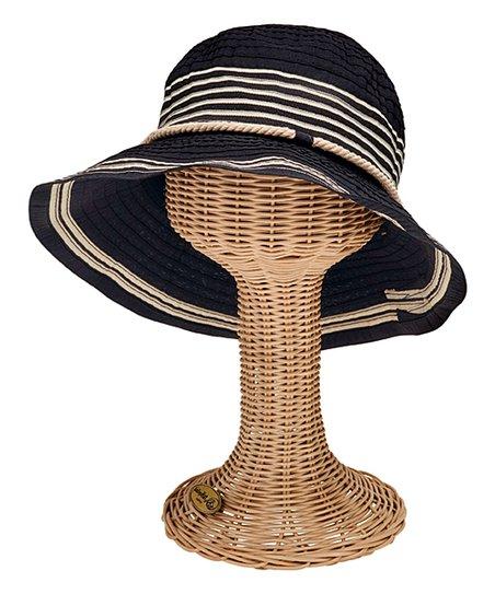 San Diego Hat Company Black   Tan Stripe Sunhat  fad20947eaf