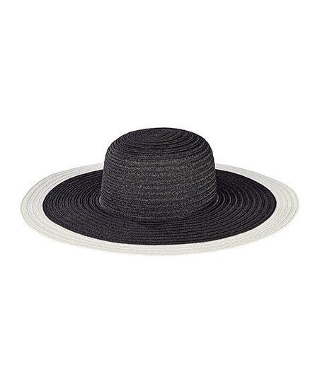 46e1c337 San Diego Hat Company Black & White Color Block Floppy Hat | Zulily