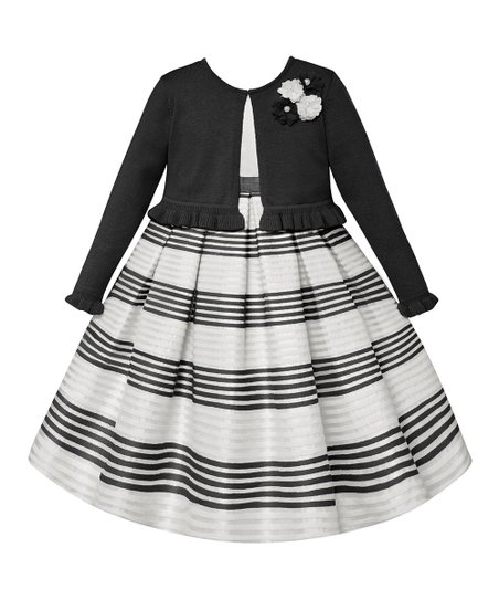 1940961847 love this product White & Black Stripe A-Line Dress & Cardigan - Infant &  Toddler