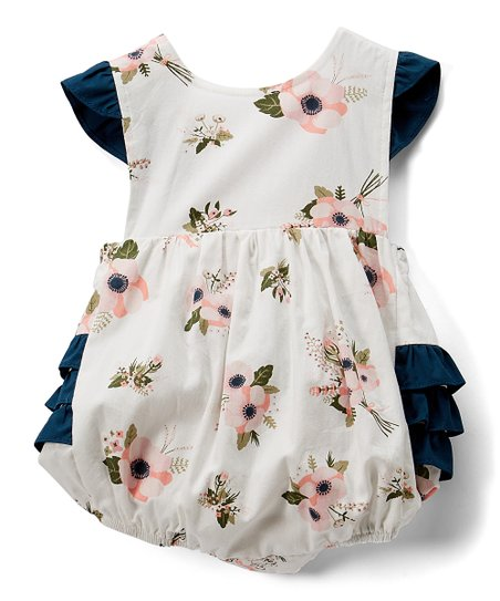 e90fdd8a1 love this product White & Pink Floral Ruffle Bubble Bodysuit - Infant &  Toddler
