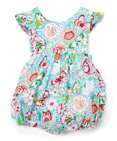 24a7e33f5 love this product Turquoise & Pink Floral Ruffle Bubble Bodysuit - Toddler
