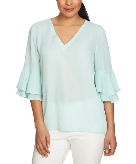 df3c16549be love this product Sea Fog Ruffle-Sleeve V-Neck Top - Women