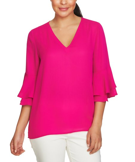 b48ed2d1b59 love this product Pink Ruffle-Sleeve V-Neck Top - Women