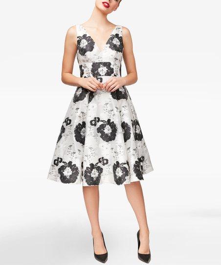 ed3416cf8ab0 Betsey Johnson® Black & White Floral A-Line Dress - Women   Zulily