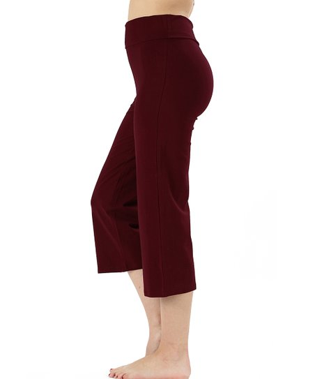 384c907bc28d30 Active USA Dark Plum Yoga Capri Pants - Women & Plus | Zulily