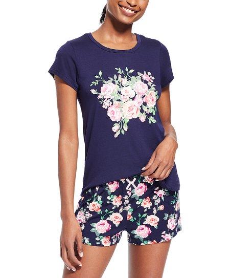 kathy ireland Blue Steel Floral Sleep Shorts Set - Women  6e05762f5