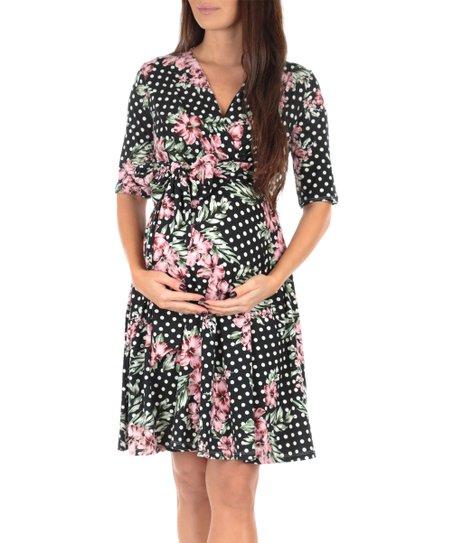 dea503658c60 Mother Bee Maternity Black Floral Polka Dot Maternity Wrap Dress ...