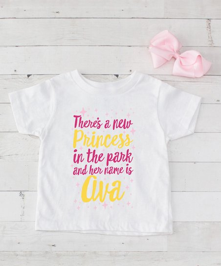 5813abf4f499 Dress Up Dreams Boutique Hot Pink   Yellow Princess Personalized Tee ...