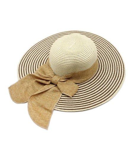 43ba6228a44d2 The Hatter Tan & White Stripe Ribbon Floppy Hat | Zulily
