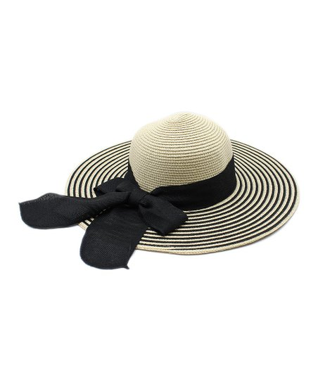 c34e56b63cbd9 The Hatter Black & White Stripe Ribbon-Accent Floppy Hat | Zulily