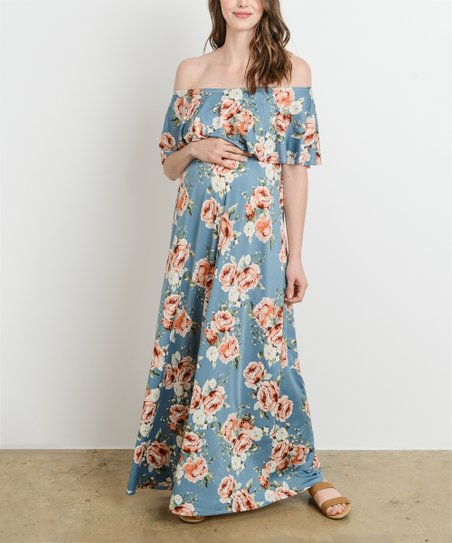 1be84e009e2 Hello Miz Maternity Chambray Blue Floral Off-Shoulder Maternity Maxi ...