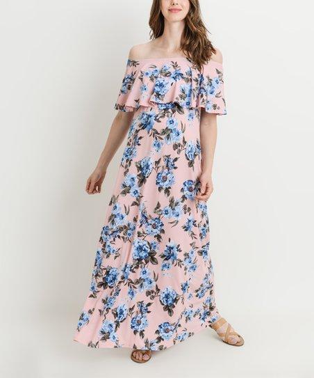 573328988c Hello Miz Maternity Pink Floral Off-Shoulder Maternity Maxi Dress ...