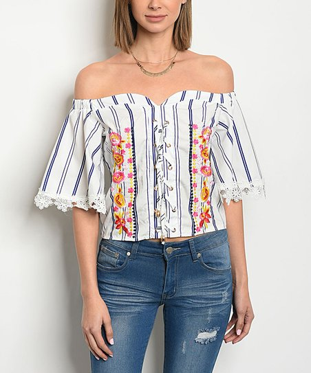 4ee50d5aaaad0 love this product Off-White   Blue Stripe Floral-Accent Off-Shoulder Top -  Women