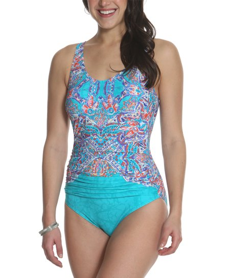 sun and sea turquoise raspberry floral ruched accent one piece