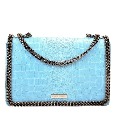 4cf13cfd6d love this product Sky Blue Croc-Embossed Chain-Strap Leather Crossbody Bag