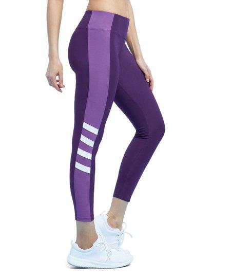 f06b2a104803c7 Marika Deep Purple & White Stripe Leggings - Women | Zulily