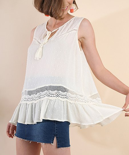 3f8dbf98a43b32 love this product Cream Lace-Panel Ruffle-Accent Sleeveless Top - Women