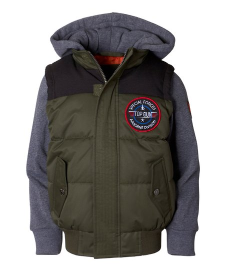 7234f4ee6 Olive Hooded Bomber Jacket - Boys