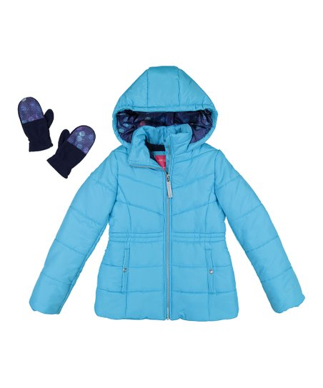 fbb744c48d4a London Fog Turquoise Puffer Jacket   Gloves - Girls