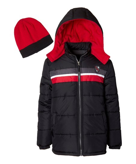 love this product Red   Black Color Block Puffer Jacket Set - Boys 9fdf7e8c46