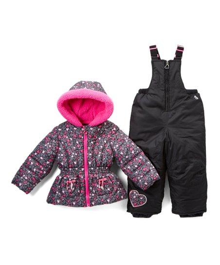 f6f5851ffe23 Arctic Quest Pink   Gray Leopard Heart Puffer Coat   Snow Bib ...