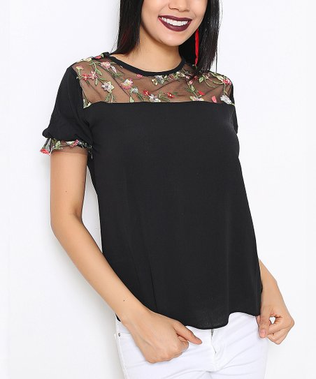 fedd0ae0382 Red Queen Black Floral-Embroidered Mesh-Yoke Top - Women | Zulily