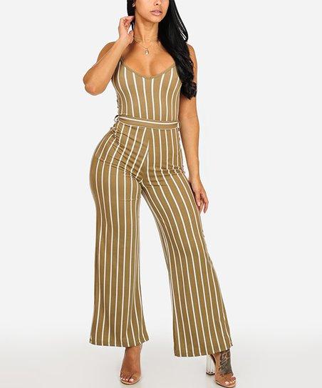 15fc70d7507a love this product Olive Stripe Wide-Leg Jumpsuit - Juniors