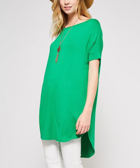 98a08d51178 love this product Kelly Green Split-Hem T-Shirt Tunic - Women
