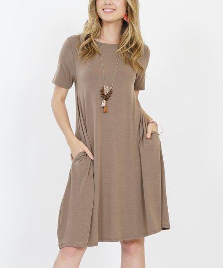 3137ee0d917 love this product Mocha Crewneck Short-Sleeve Curved-Hem Pocket Dress -  Women