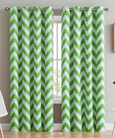 Hlc Me Lime Green White Chevron Curtain Panel Set Of Two