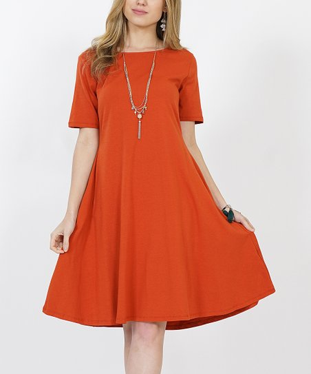 164ff6bb3 love this product Copper Short-Sleeve Two-Pocket A-Line Dress - Women