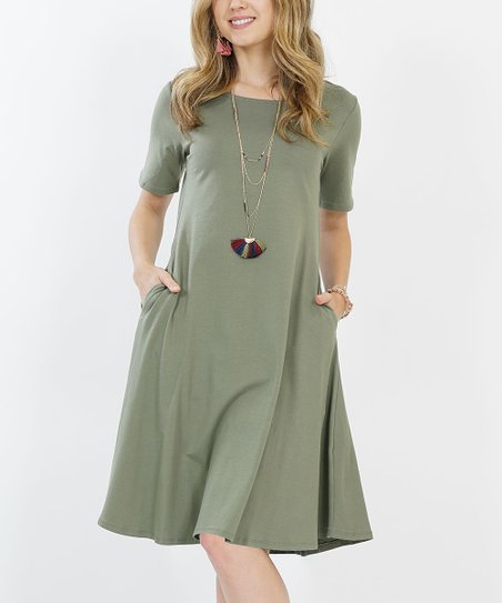 a52609e26 love this product Light Olive Short-Sleeve Two-Pocket A-Line Dress - Women  & Plus