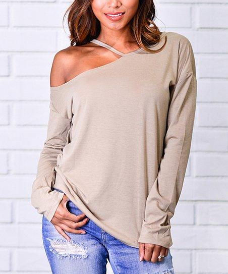 3bf38735ed0ec9 love this product Khaki Asymmetrical Cold-Shoulder Top - Women