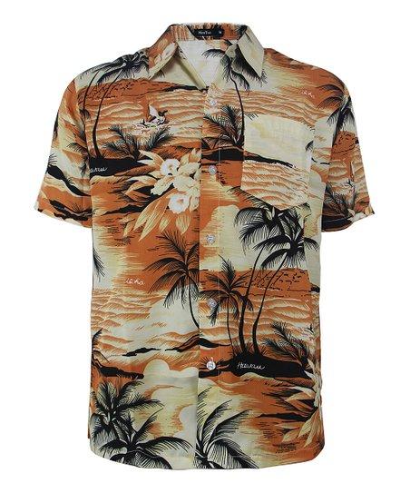 a5e5fa041 Lee Hanton Orange Tropical Button-Up - Men | Zulily