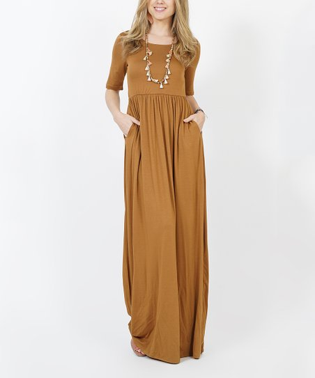 2710f3e91bba love this product Coffee Empire-Waist Two Pocket Maxi Dress - Women
