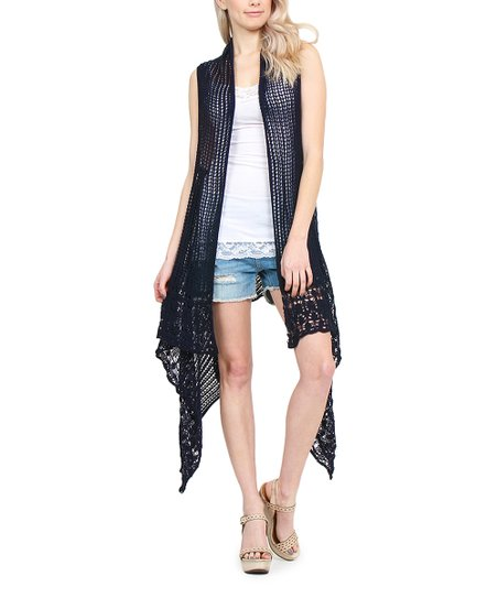 Riah Fashion Navy Blue Crochet Vest Women Zulily
