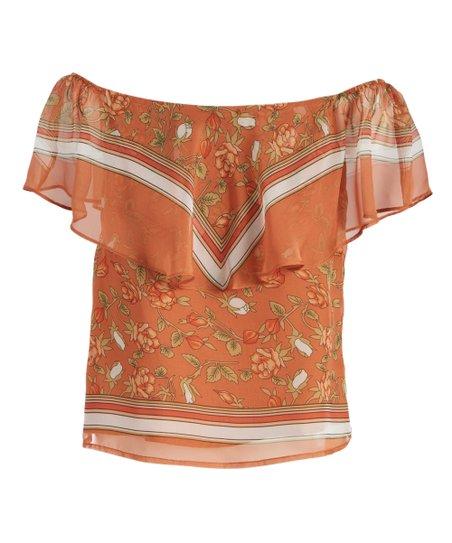 7ad2283ac8177 Lucy Paris Burnt Orange Floral Off-Shoulder Top - Women