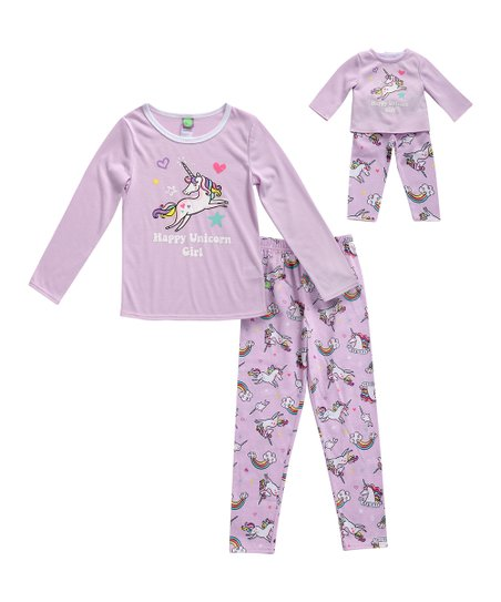 ff9d5fb92a love this product Purple  Happy Unicorn Girl  Pajama Set   Doll Outfit -  Girls